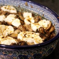 Oven-Roasted Wild Mushrooms with Goat Cheese and Chile Oil [recipe]